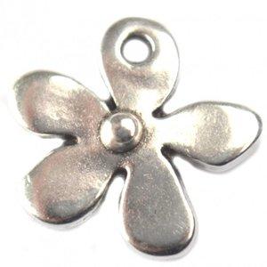 Zilver Bedel bloemetje metaal zilver DQ 13mm