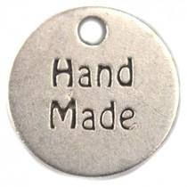 Zilver Bedel muntje `handmade` metaal zilver DQ 13mm