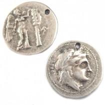 Zilver Bedel griekse munt metaal zilver DQ 24mm
