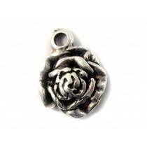 Zilver Bedel roos metaal zilver DQ 16x12mm