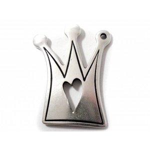 Zilver Bedel kroon metaal zilver DQ 65x45mm