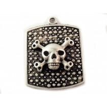 Zilver Bedel tag skull metaal zilver DQ 34x26mm