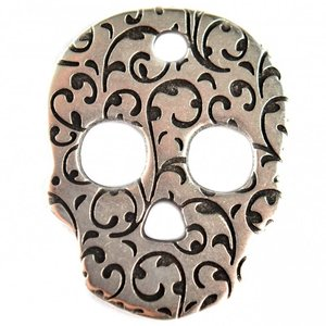 Zilver Bedel sugar skull metaal zilver DQ 26x33mm