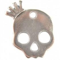 Zilver Bedel sugar skull klein metaal zilver DQ 17x20mm