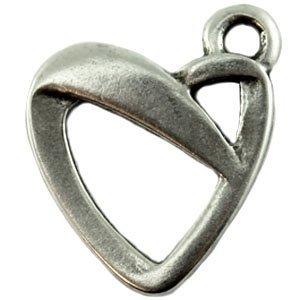 Zilver Bedel hart metaal zilver DQ 24x18mm