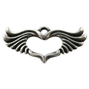 Zilver Bedel hart met vleugels metaal zilver DQ 45x20mm