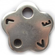 Zilver Bedel bloem love metaal zilver DQ 28mm