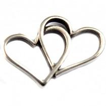 Zilver Tussenzetsel hartjes zilver DQ 19x14mm