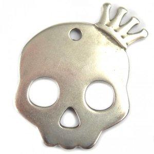 Zilver Bedel skull met kroon groot metaal zilver DQ 38mm