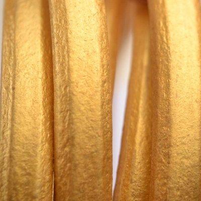 Goud Ovaal leer 10x6mm metallic goud