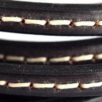Zwart Ovaal leer 10x6mm stitched zwart