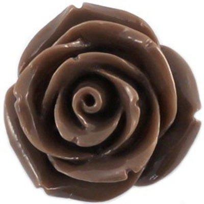 Bruin Kraal roosje lever grijs bruin 22mm