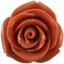Oranje Kraal roosje groot donker oranje bruin 22mm