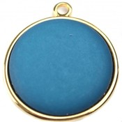 Blauw Cabochon polaris mat petrol 35mm