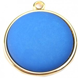 Blauw Cabochon polaris mat capri blue 35mm