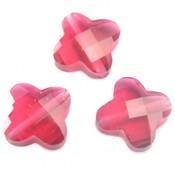 Roze Quartz hand geslepen kralen klaver fuchsia roze rood 10mm