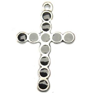 Zwart Bedel kruis met zwarte epoxy metaal zilver DQ 50mm