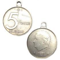 Zilver Bedel munt 5 Belgische Franc metaal zilver DQ 28mm