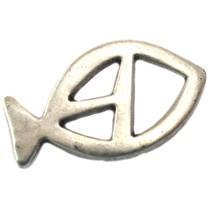 Zilver Bedel vis metaal zilver DQ 30mm