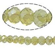 Geel Glaskraal facet rondel geel AB 10x8mm -6st