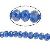 Blauw Glaskraal facet rondel blauw AB 10x8mm - 6st
