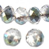 Groen Glaskraal facet rondel crystal dark green AB 6x4mm - 45st