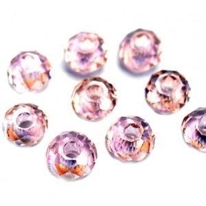 Roze Facet rondel groot gat Ø3mm licht roze AB 10x7mm