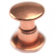 Rosegoud Inslagstud glad voor leer rosé goud 6.5mm
