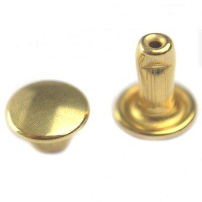 Goud Inslagstuds glad metaal goud 6.5mm
