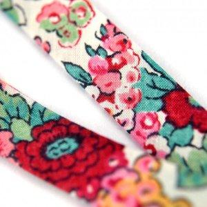 Roze Lint wit met rood roze bloemen 10mm