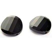 Zwart Glaskraal facet plat rond zwart 18mm