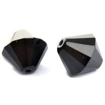 Zwart Glaskraal facet konisch zwart 15mm