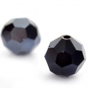 Zwart Glaskraal facet rond zwart hematiet vanaf 8mm