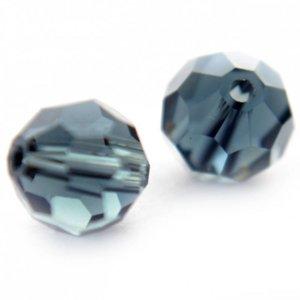 Blauw Glaskraal facet rond montana blauw vanaf 4mm