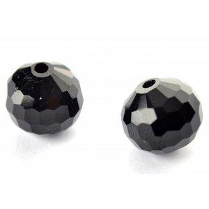 Zwart Glaskraal facet 96-zijdig zwart 10mm