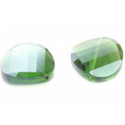 Groen Glaskraal facet rond plat groen 18mm