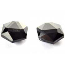 Zwart Glaskraal facet 6-hoek plat zwart 18x21mm