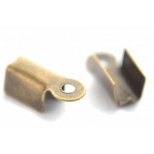 Antiek Goud Brons Veterklem brons 8x4mm per 11 stuks