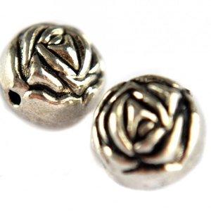 Zilver Kraal roos metaal zilver 9mm