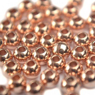 Rosegoud Gladde ronde kraal metaal rosegoud DQ 4mm