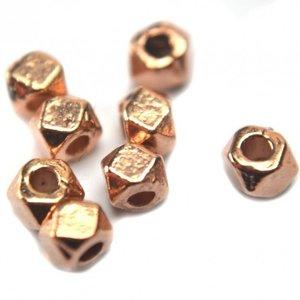 Rosegoud Kraaltje facet metaal rosegoud 3mm