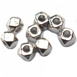 Zilver Kraaltje facet metaal zilver 3mm
