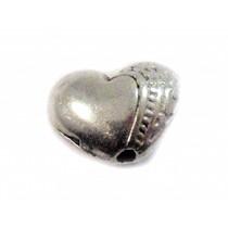 Zilver Kraal hartje metaal zilver 10x7mm