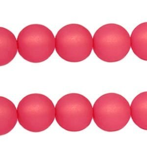 Roze Polaris kralen mat rond paparacha roze 6mm
