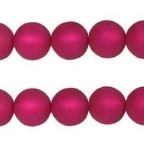 Roze Polaris kralen mat rond fuchsia 6mm