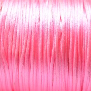 Roze Satijnkoord fluor licht roze 1mm - per meter
