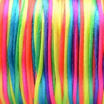 Multicolor Satijnkoord fluor regenboog 1mm - per meter