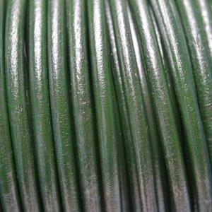 Groen Rond leer groen metallic 4,5mm - 50cm