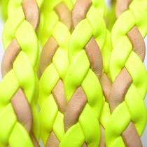 Multicolor Plat gevlochten leer geel naturel 10x2mm - per cm