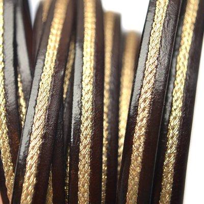Bruin Plat leer donker bruin met goud 6x2mm - per cm
